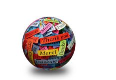 Thank You 3d spere. Thank You Word Cloud printed on colorful  paper different languages 3d ball