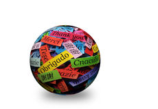 Thank You 3d spere. Thank You Word in different languages on  3d ball. Obrigado in center Royalty Free Stock Photos