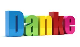 Danke. Thank you 3d text isolated Royalty Free Stock Photo