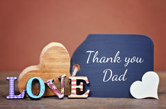 Thank you dad. Lovely greeting card - thank you dad Royalty Free Stock Photo