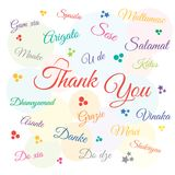 Thank you day, holiday, in many languages. Vector illustration. royalty free illustration