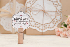 Thank you. Decoration and gift packs for wedding Stock Image
