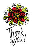 Thank you design card with abstract flower Royalty Free Stock Photo