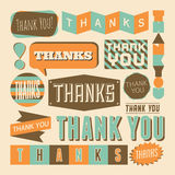 Thank You Design Elements. A set of retro style Thank You design elements stock illustration