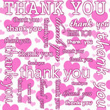 Thank You Design with Pink and White Hearts Tile Pattern Repeat vector illustration