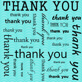 Thank You Design with Teal Wavy Stripes Tile Pattern Repeat Back Stock Photo