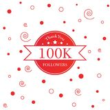 Thank You design template for social media, network, and followe. 100k followers  illustration for Web user celebrates a large number of subscribers Royalty Free Stock Photo