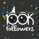 Thank You design template for social media, network, and followe. 100k followers vector illustration for Web user celebrates a large number of subscribers vector illustration