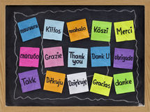 Thank you in different languages. Thank you in sixteen languages - colorful sticky notes on blackboard with white chalk smudges Stock Photos