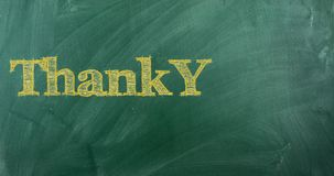 Thank you in different languages. On green chalkboard 4k video