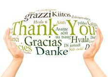 Thank You in different languages hand sphere. Thank You in different languages. Word cloud hand sphereconcept on white background royalty free stock images
