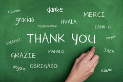 Thank You in Different Languages. Hand writing thank you in different languages on blackboard Royalty Free Stock Photography