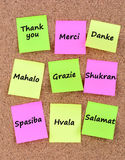 Thank you in different languages. On notes Royalty Free Stock Image