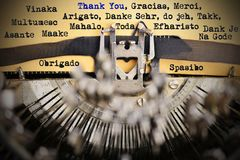 Thank you in different languages typed by retro typewriter. Thank you in different languages typed by classic typewriter royalty free stock photos