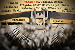 Thank you in different languages typed by retro typewriter royalty free stock photography