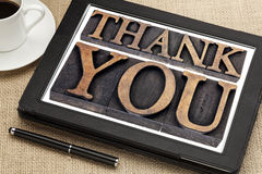 Thank you on digital tablet Stock Photo