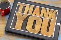 Thank you on digital tablet Royalty Free Stock Image