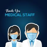 Thank You Doctor, Nurse, Medical Staff Vector For Greeting Design