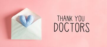 Thank You Doctors message with a heart cushion in an envelope
