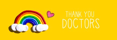 Thank You Doctors message with rainbow and heart