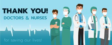 Thank you doctors and nurses for the fight against covid-19 coronavirus infection.-Vector illustration