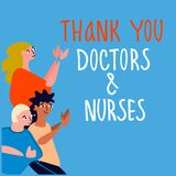 Thank you doctors and nurses hand-lettered phrase. People applauding doctors vector illustration in flat style