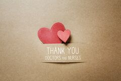 Thank You Doctors and Nurses message with small hearts