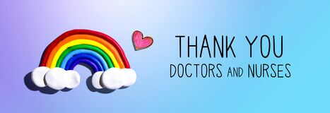 Thank You Doctors and Nurses message with rainbow and heart