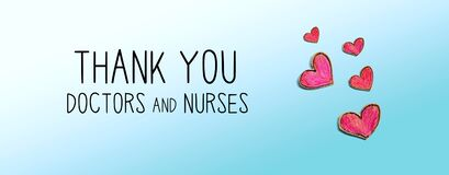 Thank You Doctors and Nurses message with red heart drawings
