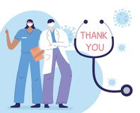 Thank you doctors and nurses, physician and nurse with medical report and stethoscope