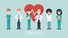 Thank you doctors and nurses wearing a mask fighting COVID-19. Vector illustration