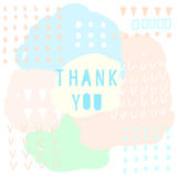 Thank you doodle card template. Abstract handmade letters patte Royalty Free Stock Images