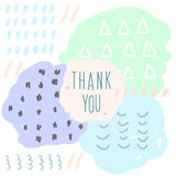 Thank you doodle card template. Abstract handmade letters patte Royalty Free Stock Photo