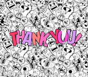 Thank you doodle hipster background Stock Photography