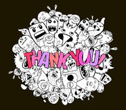 Thank you doodle hipster background Royalty Free Stock Images