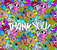 Thank you doodle hipster colorful background Stock Images