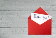 Thank You. Envelope Letter Gratitude red Open Writing stock photo