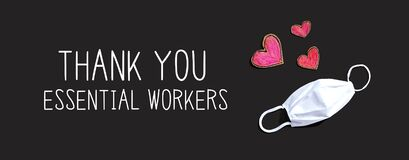 Thank You Essential Workers message with face mask and heart drawings