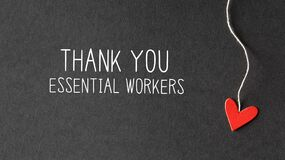 Thank You Essential Workers message with paper hearts