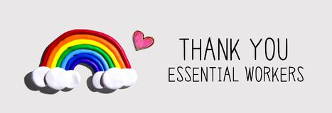 Thank You Essential Workers message with rainbow and heart