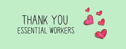 Thank You Essential Workers message with red heart drawings
