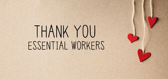 Thank You Essential Workers message with small hearts