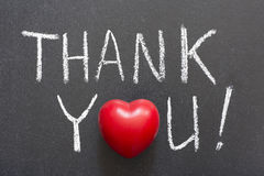 Thank you. Exclamation handwritten on  blackboard Stock Photo