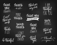 Thank you Family Positive quote lettering set Stock Photos