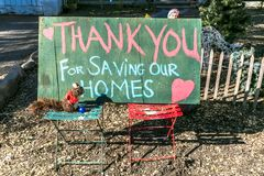 Thank You Firemen for SAving our Home in front of home after Thomas Fire in Ojai California,. Garage, door