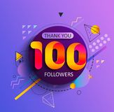 Thank you first 100 followers. Thanks for the first 100 followers. Thank you followers congratulation card. Vector illustration for Social Networks. Web user or stock illustration