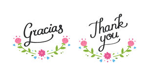 Thank you floral banner Stock Images