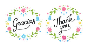 Thank you floral banner Stock Image
