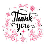Thank you floral design calligraphy Stock Photo