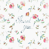 Thank you floral greeting card Royalty Free Stock Images